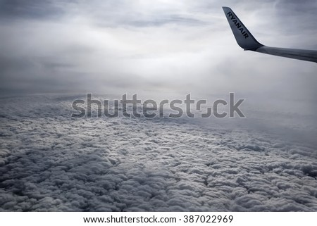 Italy; 5 March 2016, airplane flying above the clouds - EDITORIA