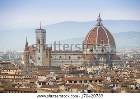 ITALY - MARCH 4: View of Florence, Italy with the Florence Cathedral. - stock photo