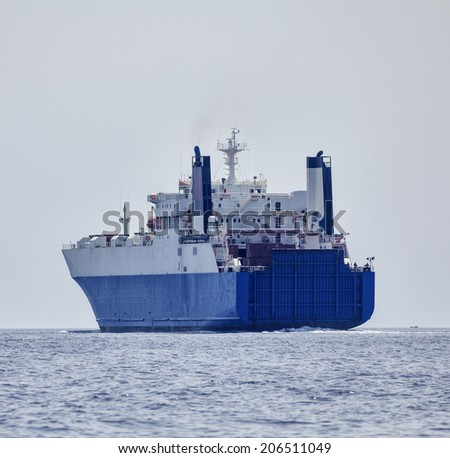 Italy, Mediterranean sea, Sicily Channel, Cargo ship - stock photo
