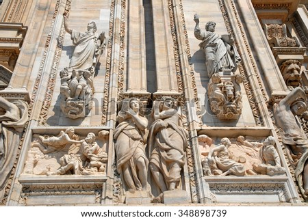 Italy, Milan Duomo cathedral wall  details. - stock photo