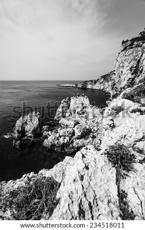 Italy, Molise, Tremiti Islands, San Domino Isle, a cave in the rocky coast of the island - FILM SCAN