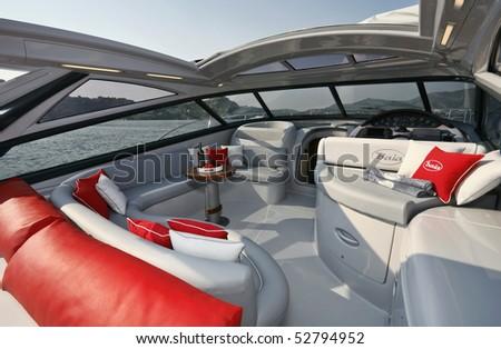 Italy, Naples, Aqua 54' luxury yacht (boatyard: Cantieri di Baia) - stock photo