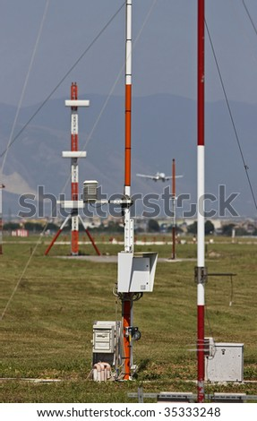 ITALY, Naples, international airport Capodichino, airplane landing and flight control sensors - stock photo