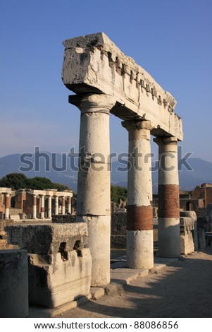 Italy Naples Roman ruins of Pompeii - the city was destroyed in the eruption of the volcano Mount Vesuvius -  remains of a temple  - UNESCO World Heritage - stock photo