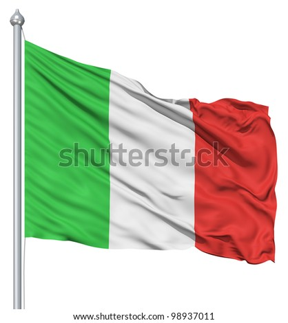 Italy national flag waving in the wind - stock photo