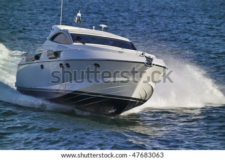 Italy, off the coast of Nettuno (Rome), luxury yacht Rizzardi 45' (motor boat) - stock photo