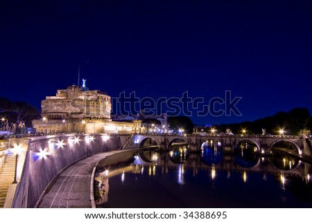 Italy Older Bridge and Castle Sanit Angelo in Rome - stock photo