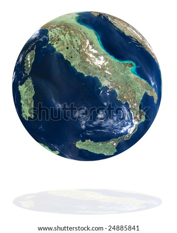 Italy on the Earth planet. Data source: Nasa - stock photo
