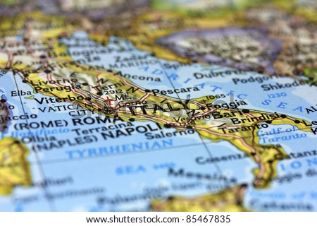 Italy on the map. - stock photo