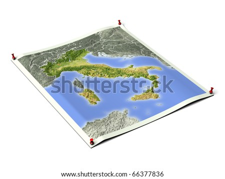 Italy on unfolded map sheet with thumbtacks. Map colored according to vegetation, with borders and major urban areas. Includes clip path for the background.
