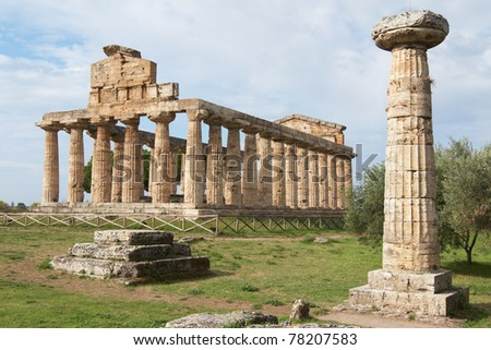 Italy, Paestum. The Temple of Athena and the ancient column - stock photo