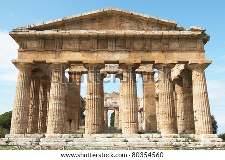 Italy, Paestum. The Temple of Hera-II (formerly known as Neptune or Apollo) - stock photo