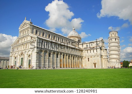 Italy, Pisa: cathedral and leaning tower view at Miracles square. - stock photo