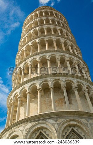 Italy. Pisa. Leaning tower against the sky.