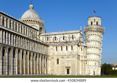 Italy, Pisa. The Cathedral and the Leaning Tower in Cathedral Square - stock photo