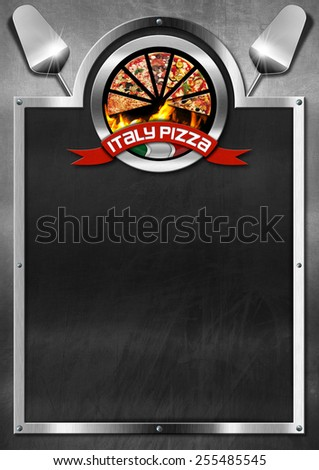 Italy Pizza - Menu Design. Blackboard with metal frame, symbol with pizza slices, Italian flag and red ribbon with text Italy pizza. Template for a italian pizza menu  - stock photo
