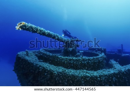 Italy, Ponza Island, U.W. photo, wreck diving, cannon tower of a sunken ship (FILM SCAN) - stock photo