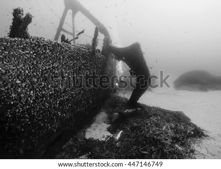Italy, Ponza Island, U.W. photo, wreck diving, sunken ship (FILM SCAN) - stock photo