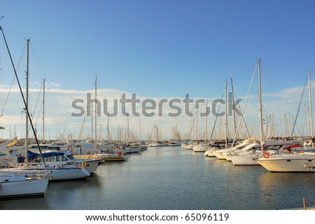Italy Ravenna marina boats in the harbor