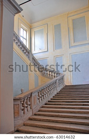 Italy Ravenna medieval palace stairs - stock photo