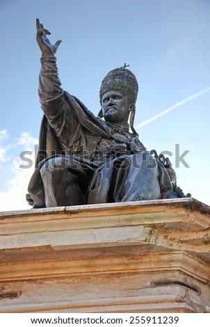 Italy, Rimini, pope Paolo V statue in Cavour square - stock photo