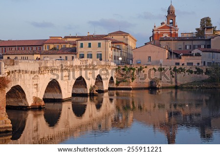 Italy, Rimini, the world famous Tiberio Roman bridge. - stock photo