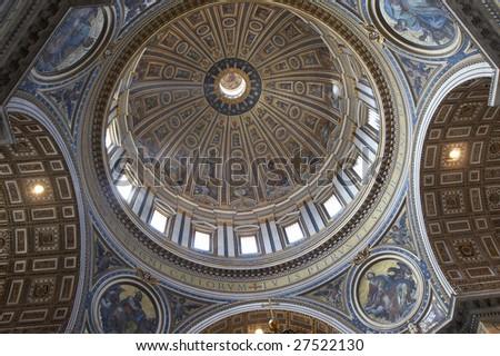 Italy, Roma, Vatican. Inside of Saint Peter's Basilica - stock photo