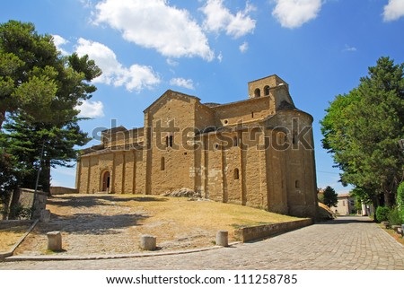 Italy. Romagna Apennines, San-Leo village ancient Cathedral built in 8 century. - stock photo