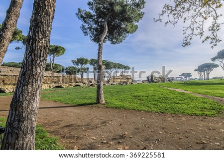 Italy, Rome, Acquedotto Claudio - A beautiful morning at Aqueduct Park