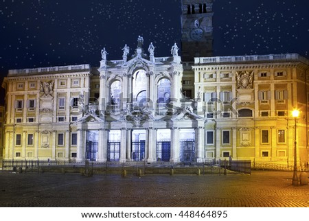 Italy. Rome. Basilica of  Santa Maria maggiore at Night illumination - stock photo