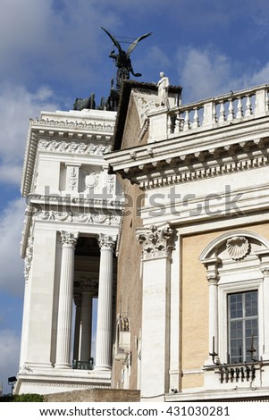 Italy, Rome, Campidoglio Square, view of the Capitoline Museum building and Victorian Palace (Vittoriano) behind it