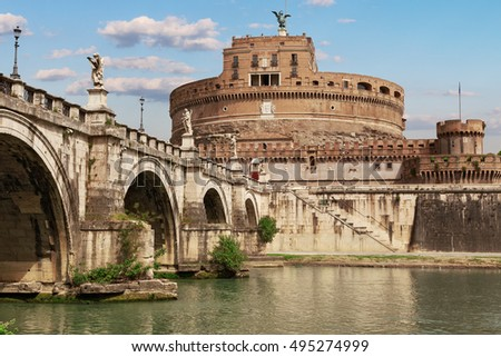Italy. Rome. Castle of St. Angelo on the Tiber River