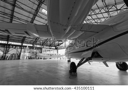 Italy, Rome, Ciampino Airport; 26 July 2010, small executive jets in the hangar - EDITORIAL