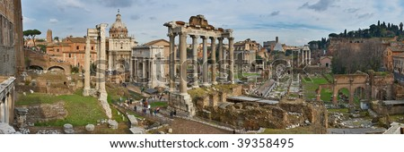 Italy. Rome. Forum Romanum view from the Capitoline Hill. Panorama - stock photo
