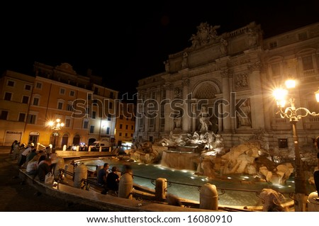 ITALY, ROME - JULY 2008. Fontana di Trevi - most famous Rome's fountain in the world. Beautiful place in night Rome.