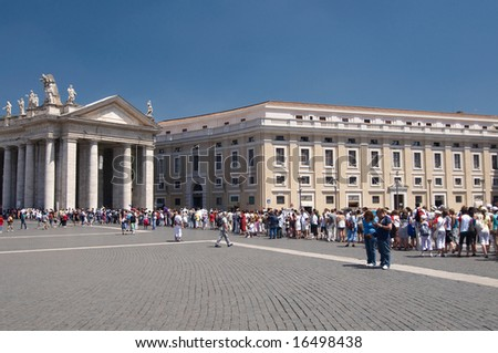ITALY, ROME - JULY 2008. Huge queue to go in basilica on Saint Peter's Square. - stock photo