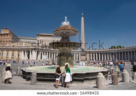 ITALY, ROME - JULY 2008. One of the fountains on Saint Peter's Square. Rome, Italy. - stock photo