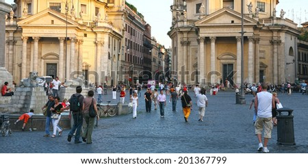 ITALY, ROME - JUNE 27, 2008: Evening summer view famous square Piazza del Popolo, means People's Square. Square has famous twin churches, obelisk, fountain and connects with Park Villa Borghese. - stock photo