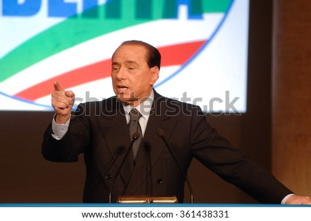 "ITALY, ROME - NOVEMBER 19, 2007 - Italian former premier Silvio Berlusconi attends a  press conference as he launches a new political party ""People of Freedom""."