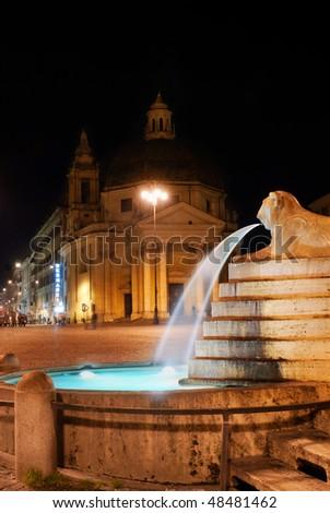 Italy. Rome, Piazza del Popolo, Fontana (fountain) dell' Obelisco at night - stock photo