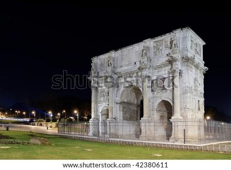 Italy. Rome ( Roma) . Arco di Constantino at night - stock photo