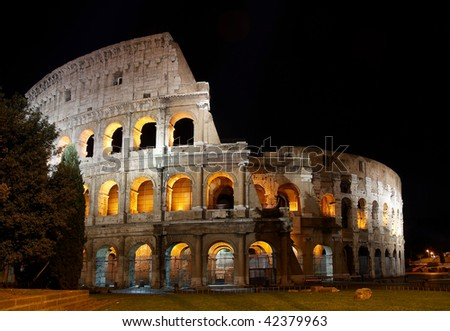 Italy. Rome ( Roma ). Colosseo (Coliseum) at night