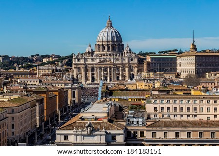 italy, rome, st. peter's basilica. seen from castel sant'angelo from - stock photo