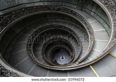 Italy. Rome. Vatican. A double spiral staircase. - stock photo