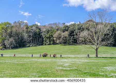 Italy, Rome, Villa Dora Pamphili - 06 March 2016: It's morning in the park of Villa Doria Pamphili, the largest park in Rome; It is a place where you can walk, run, ride a bicycle and of course relax