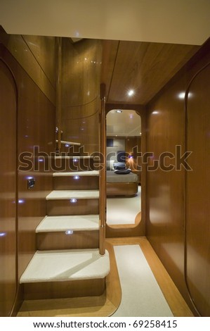 Italy, S.Felice Circeo (Rome), luxury yacht Rizzardi Posillipo Technema 65', staircase to th upper level dinette