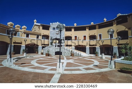 Italy, Sardinia, Emerald Coast, Porto Rotondo central square - FILM SCAN - stock photo