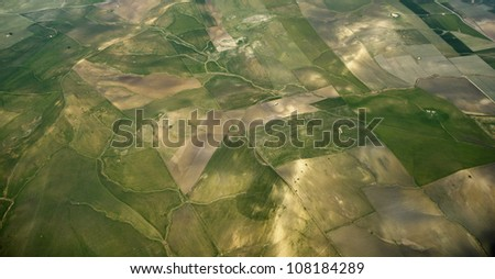 Italy, Sicily, aerial view of the sicilian countryside - stock photo