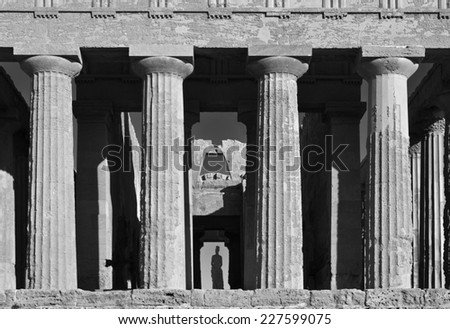 Italy, Sicily, Agrigento, Greek Temples Valley, Hercules Temple columns - stock photo