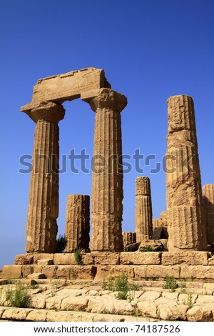 """Italy Sicily Agrigento """"Valley of the Temples"""" Temple of Era Ancient Greek construction - stock photo"""